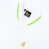 White polo with tipped collar, two-button placket, and striped, ribbed armbands. Featuring embroidered gold frog mascot.