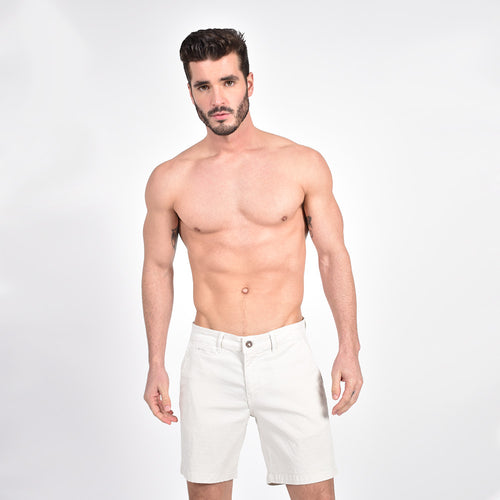 Beige Slim Fit Jaquard Shorts