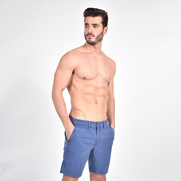 Navy Slim Fit Jaquard Shorts