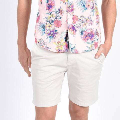 Beige Slim Fit Chino Shorts
