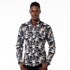 Model in black button up with digital safari print.