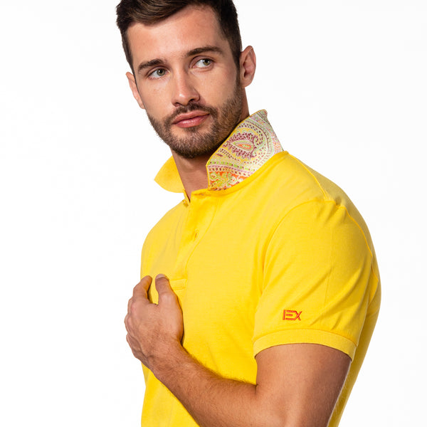 Yellow Polo with Double Sided Multi colored Paisley Print Collar