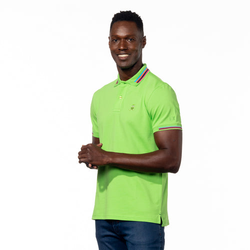 Model wearing bright green polo with blue, peach, navy, and pink striped collar; matching ribbed armbands; and embroidered green frog mascot.