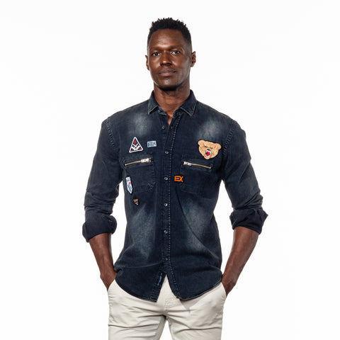 Black Grizzly Bear Denim  Shirt