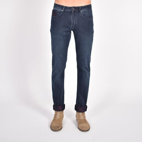 Navy Slim Fit Jeans With Inside Ankle Print