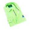 Folded bright-green gingham button up with navy-blue trim; royal blue, embroidered frog; and barrel cuffs.