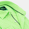 Detail of gingham button up collar, green trim, and white buttons.