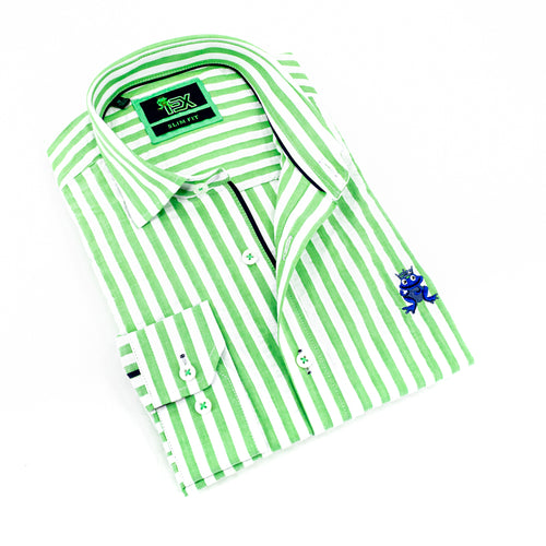 Folded striped, light-green seersucker button up with navy trim; royal blue, embroidered frog; and barrel cuffs.