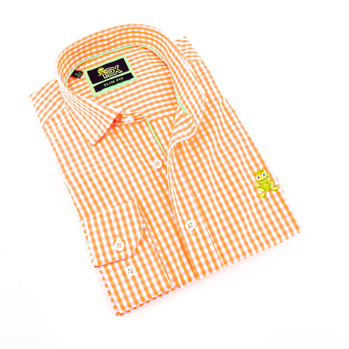 Folded bright-orange gingham button up with green trim; green embroidered frog; and barrel cuffs.