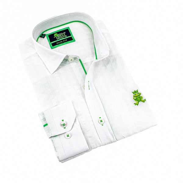 Folded white seersucker button up with green trim; green, embroidered frog; and barrel cuffs.