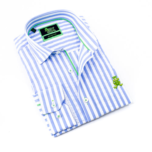 Folded striped, light-blue seersucker button up with green trim; green, embroidered frog; and barrel cuffs..