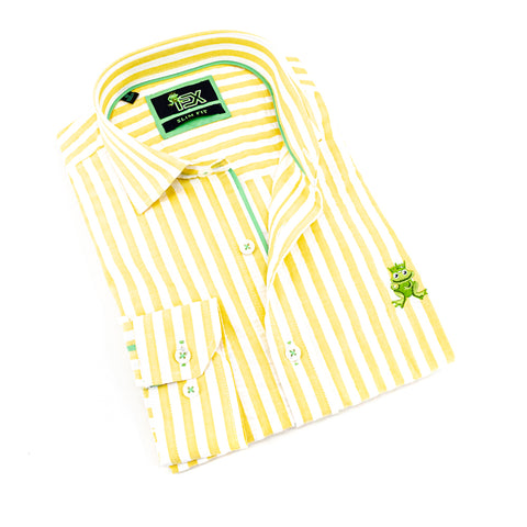 Folded light-yellow seersucker button up with green trim; green, embroidered frog; and barrel cuffs.