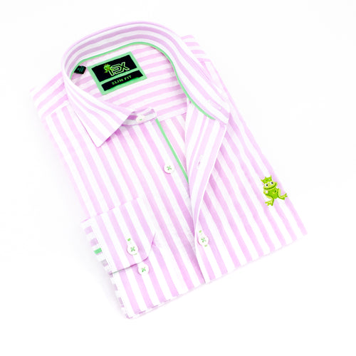 Folded striped, light-pink seersucker button up with green trim; green, embroidered frog; and barrel cuffs.