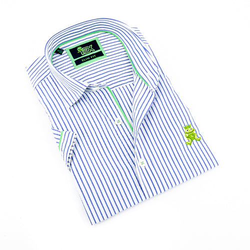 Folded short-sleeve, blue-striped seersucker button up with green trim; green, embroidered frog; and white buttons.