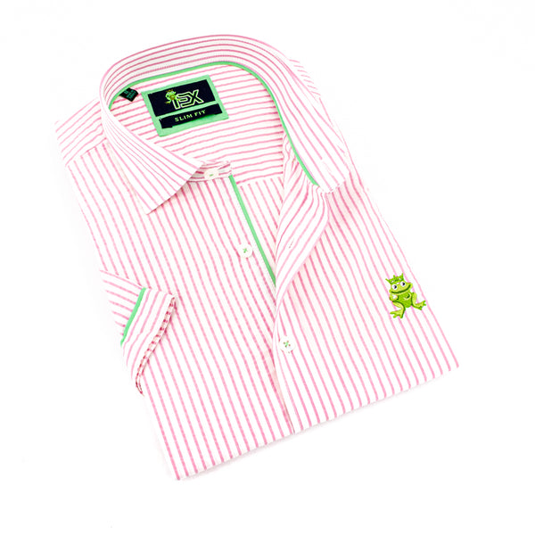 Folded short-sleeve, pink-striped seersucker button up with green trim; green, embroidered frog; and white buttons.