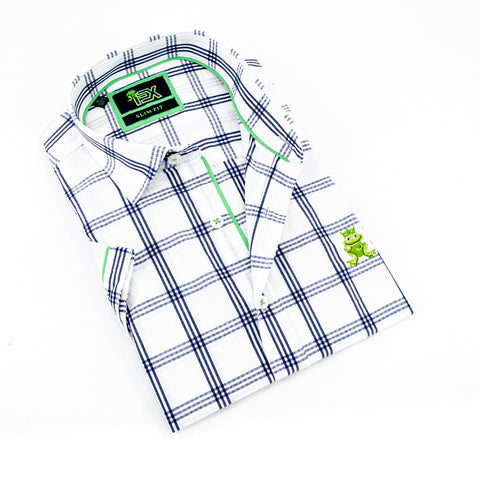 Folded short-sleeve, white plaid seersucker button up with green trim; green, embroidered frog; and white buttons.