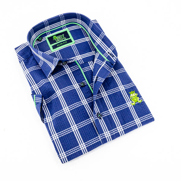 Folded short-sleeve, navy-blue plaid seersucker button up with green trim; green, embroidered frog; and navy-blue buttons.