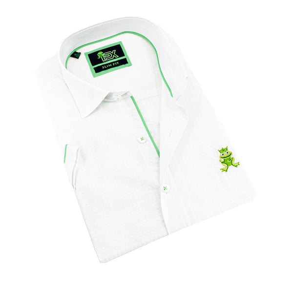 Folded short-sleeve, white seersucker button up with green trim; green, embroidered frog; and white buttons.