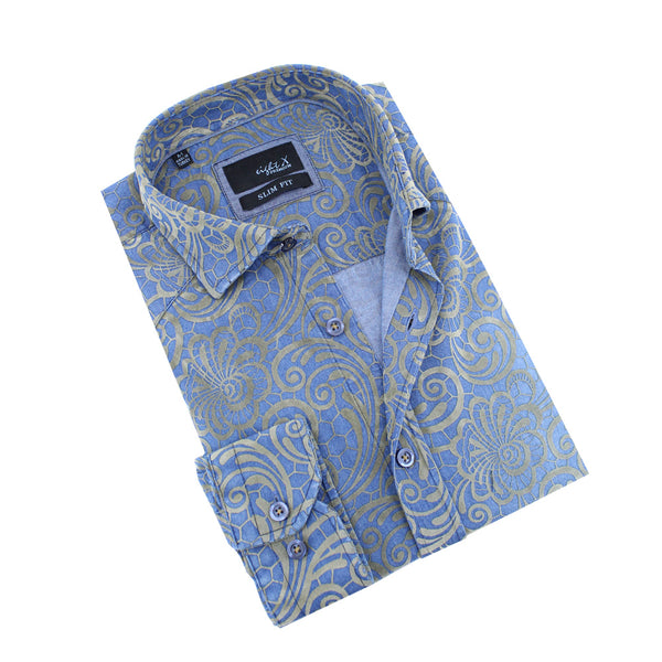 Demin Shirt With Gold Venice Lace Print Flocking