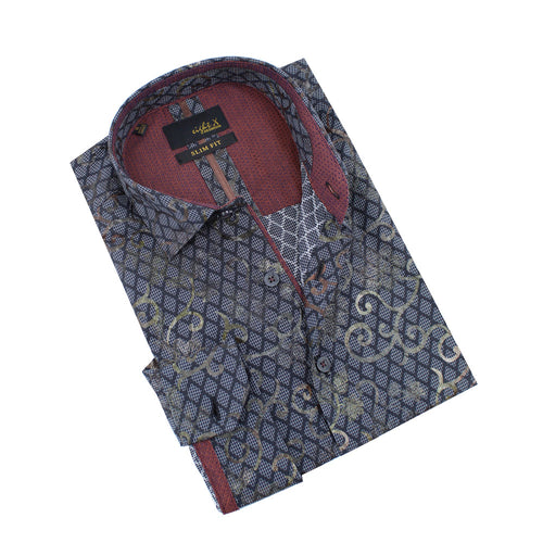 Grid and Vine Print Foil Jacquard Shirt With Burgundy Trim