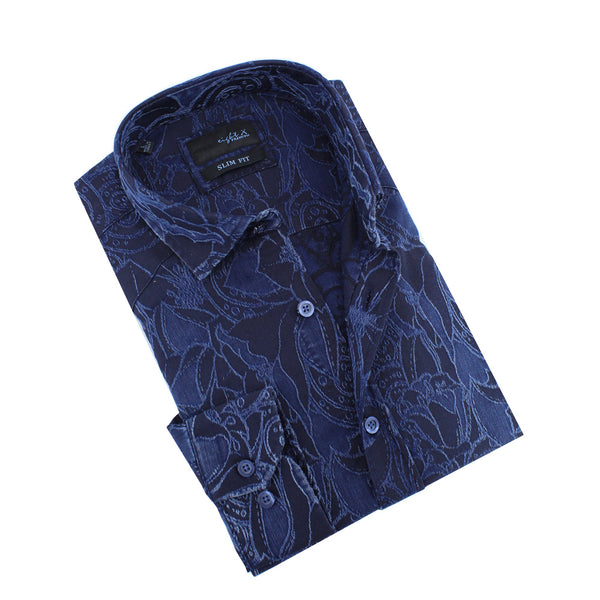 Denim Tapestry Design Stretch Jacquard Shirt