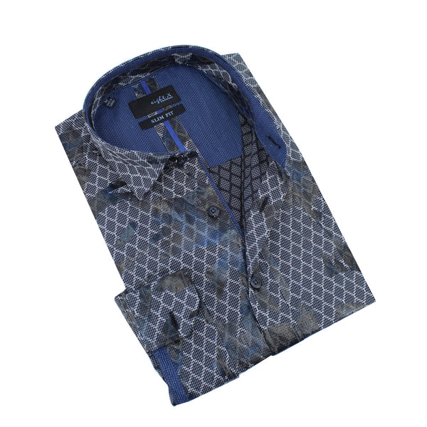Snake Print Foil Jacquard Shirt With Navy Trim