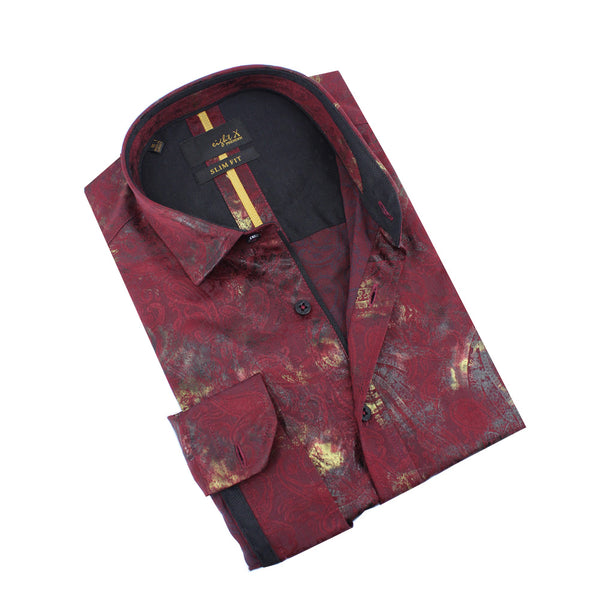 Paisley and Gold Foil Jacquard Shirt