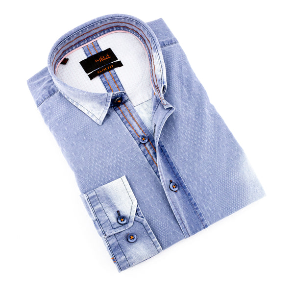 Pattern Light Stone Wash Denim jacquard Shirt #H-1091