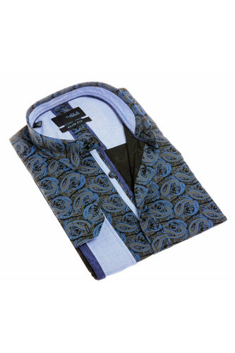 PAISLEY NAVY SHIRT W/TRIM #H-1828