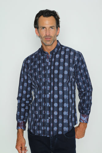 Dark Navy Polka Dot Shirt With Paisley Trim #H-1831-2