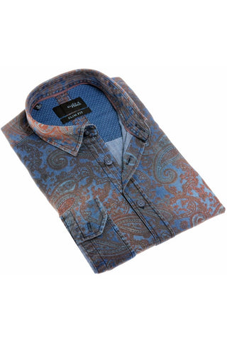 DENIM PAISLEY SHIRT #H-1846