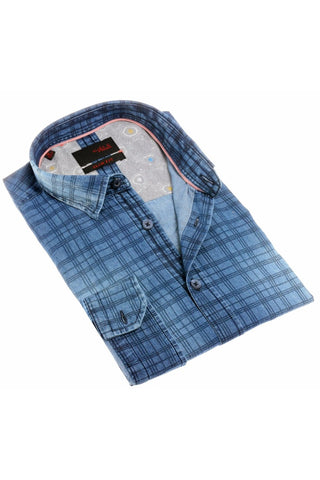 navy checkered stone wash denim shirt, perfect for an untucked casual style