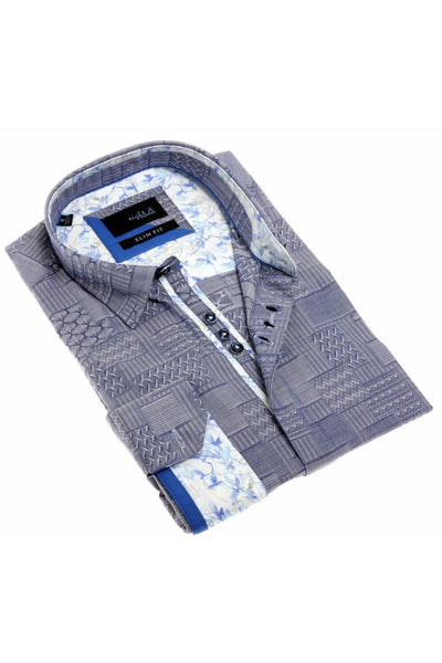 Navy Jacquard Shirt With Colorful White Trim #H-1873