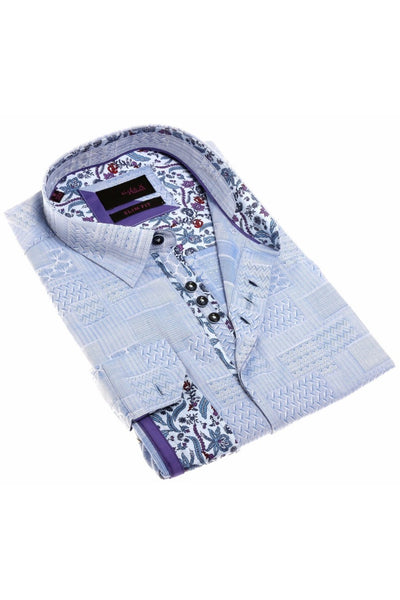 Pattern Blue Jacquard Shirt With Colorful Trim #H-1874