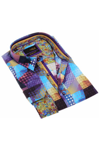 Multicolored Digital Print Shirt With Trim #H-1879