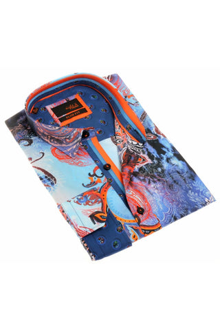 MULTI COLOR DIGITAL PRINT SHIRT W/ TRIM  #H-1883