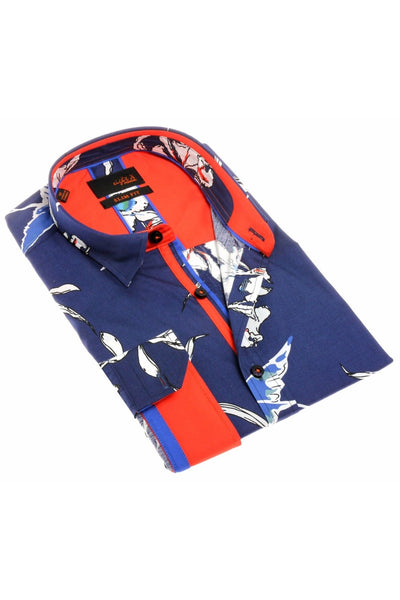 Navy Floral Digital Print Shirt W/ Trim  #H-1918