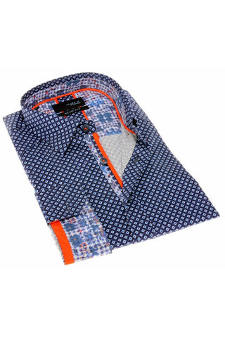 NAVY DIGITAL PATTERN SHIRT W/TRIM #H-1819