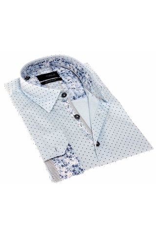 SKY BLUE POLKA DOTS SHIRT W/TRIM #H-1824