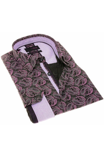 BLACK PAISLEY SHIRT W/TRIM #H-1829