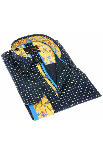 NAVY DIGITAL PRINT SHIRT W/TRIM #H-1830