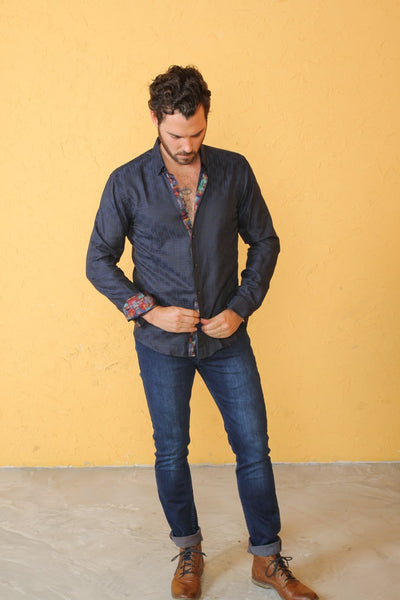 Navy Shirt With Colorful Paisley Trim #M-10263