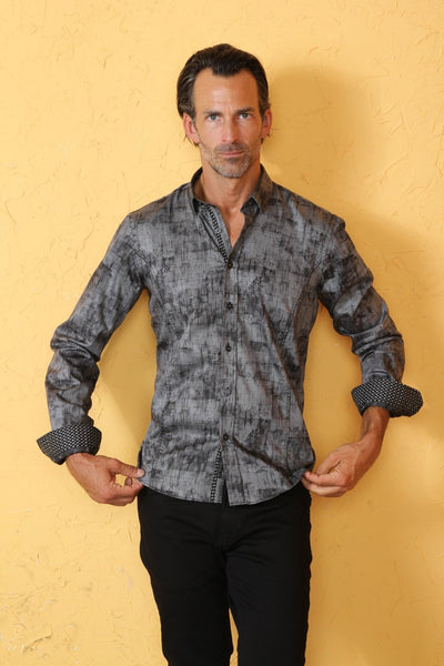 Evening Colors Print Shirt With Trim #M-10356