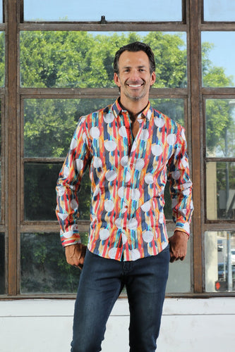 Retro Circles Design Shirt With Trim #M-10398
