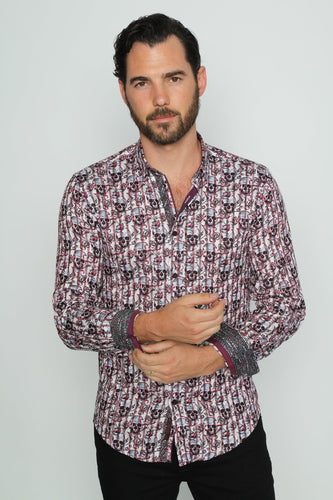 Skull And Rose Print Shirt #M-10407