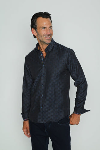Navy Design Jacquard Shirt With Butterfly Trim #M-10364