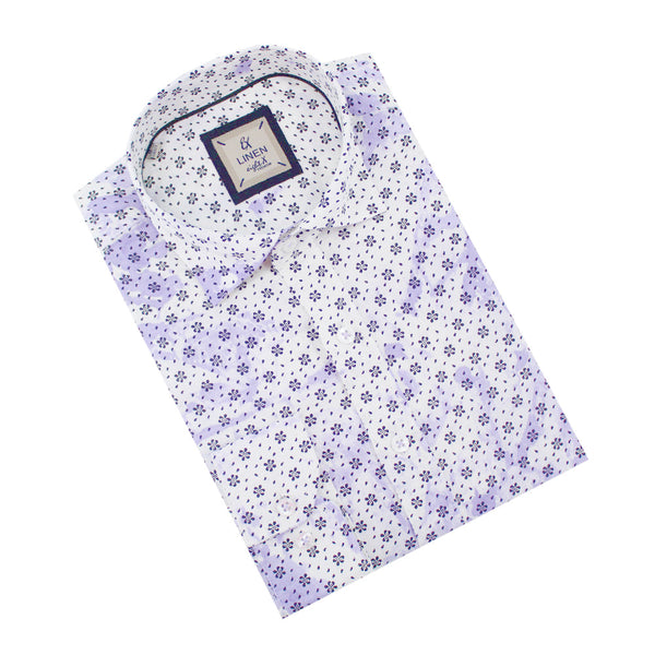 Purple Linen Flower Print Shirt