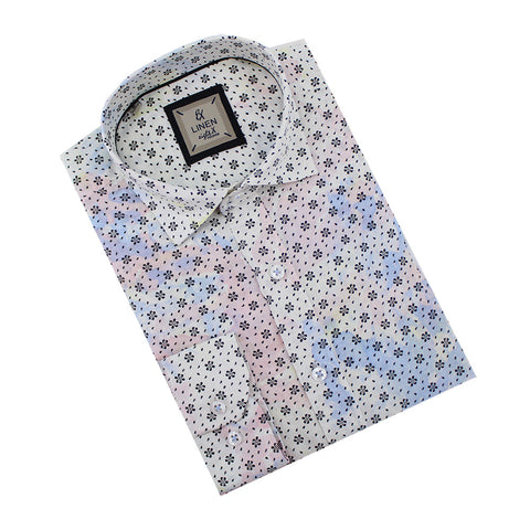Multi Color Linen Flower Print Shirt
