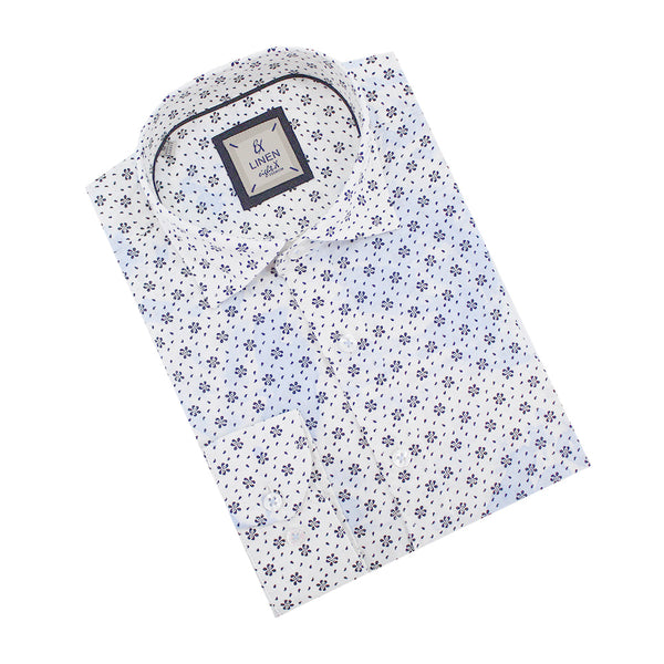 Blue Linen Flower Print Shirt