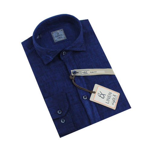 Solid Navy Linen Shirt